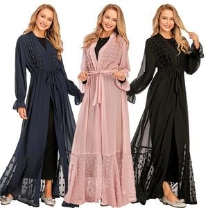 Eid Mubarak Open Abaya Turkey Abayas for Women Dubai Muslim Hijab Kimono Dress Caftan Moroccan Kaftan Islamic Clothing Jilbab
