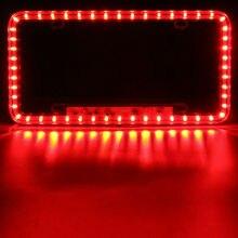 Red LED License Plate Frame Light Car Strobe Emergency Flashing Warning Lamp Universal Front Rear
