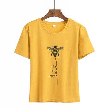 Camiseta de algodón estampada de manga corta, camiseta de verano con cuello...