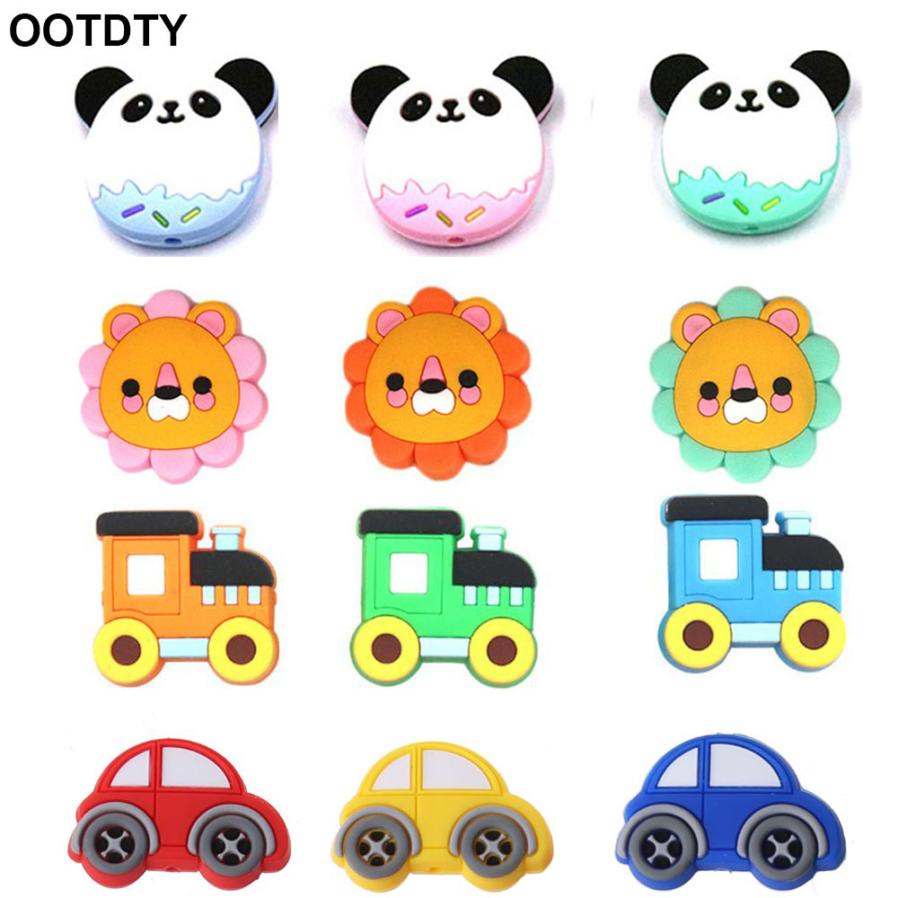 5pc Silicone Beads Panda Bus Mini Lion Cartoon Animals Baby Teether DIY Accessories Teething Necklace Food Grade Silicone Teethe