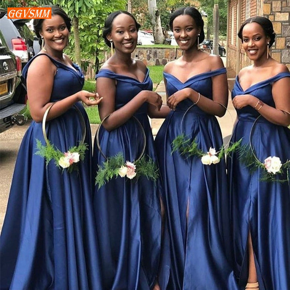 Fashion Navy Blue Bridesmaid Dresses Off Shoulder Guest Wedding Party Gowns Customized Satin Side Split A Line Bridesmaids Dress