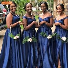Fashion Navy Blue Bridesmaid Dresses Off Shoulder Guest Wedd