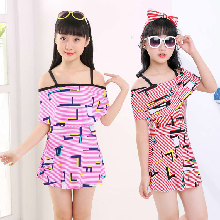 2019 New Style KID'S Swimwear GIRL'S Big Boy Korean-style Dress-Tour Bathing Suit Boxer Students Swimwear Wholesale