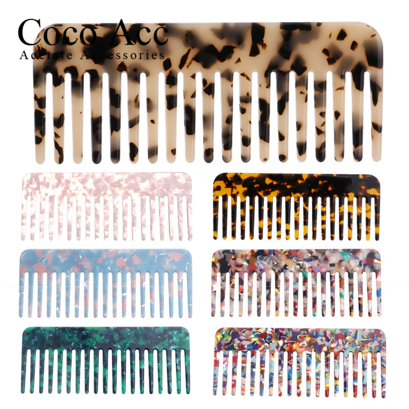Wholesale Price Fashion Colorful Acetate High-end Thick  Fancy Korean Design Hair Combs For Women Girls