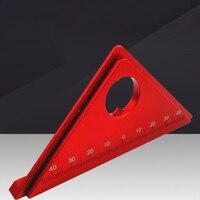 Nova liga de alumínio quente 45 graus marcação ângulo régua com base carpintaria triângulo régua medição scribing ferramenta dropshipping Transferidores     -