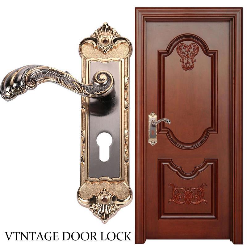 SOLEDI Colour Durable Aluminum Door Locks Home Furnishing Wooden Doors Furniture Sturdy Indoor Door Lock Bedroom Retro
