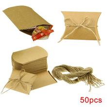 50Pcs Kraft Paper Rustic Gift Candy Dessert Boxes Packaging Bag Party Birthday