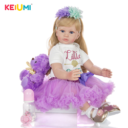 Keiumi nova fantasia diy cachos de ouro renascer boneca do bebê 60 cm realista princesa pano corpo renascer menina para o presente aniversário da menina