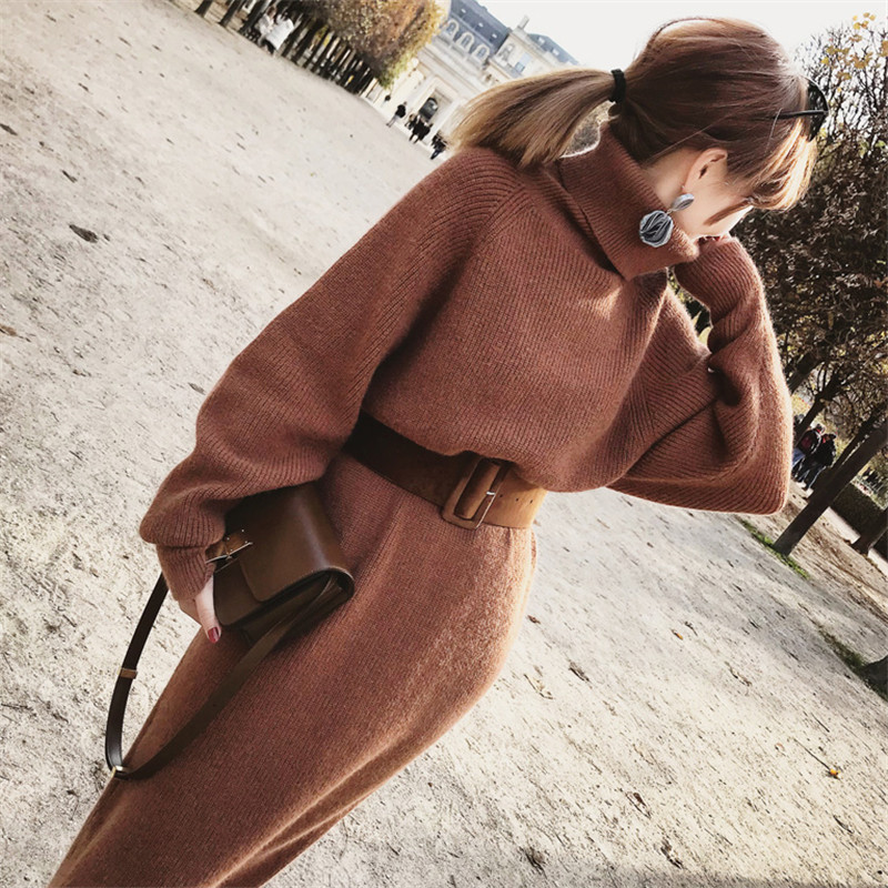 WAVSIYIER women knitted dress female autumn winter jumper dresses woman solid brown belt turtleneck collar maxi dress sweater