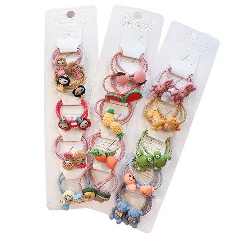 3/6/10Pcs/Set Girls Cute Cartoon Animals Fruit Elastic Hair Bands Scrunchies Ponytail Holder Headbands for Kids Hair Accessories Multan