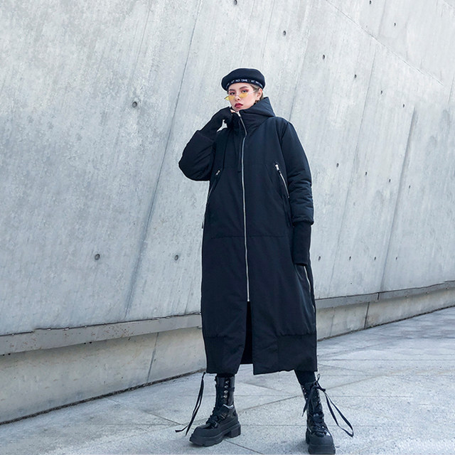[EAM] Black Big Size Hooded Cotton-padded Coat Long Sleeve Loose Fit Women Parkas Fashion Tide New Autumn Winter 2019 1H886 35