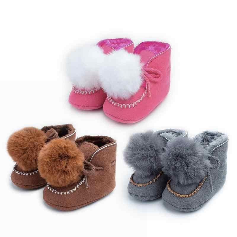 Engrossar botas de bebê rendas adorável pompon antiderrapante neve prewalker macio coral velo criança cor sólida inverno sapatos quentes
