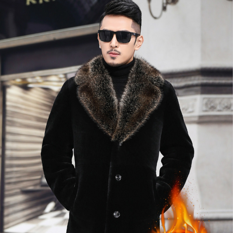 Real Fur Coat Men Sheep Shearing Winter Coat Mink Fur Collar Hooded Wool Jacket For Mens Clothing Plus Size Casaco DS493 YY779