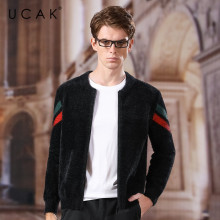 UCAK Brand Wool Sweatercoat Men 2020 New Arrival Fashion Trend Casual Spring Autumn Streetwear V-Neck Zipper Sweater Male U1039