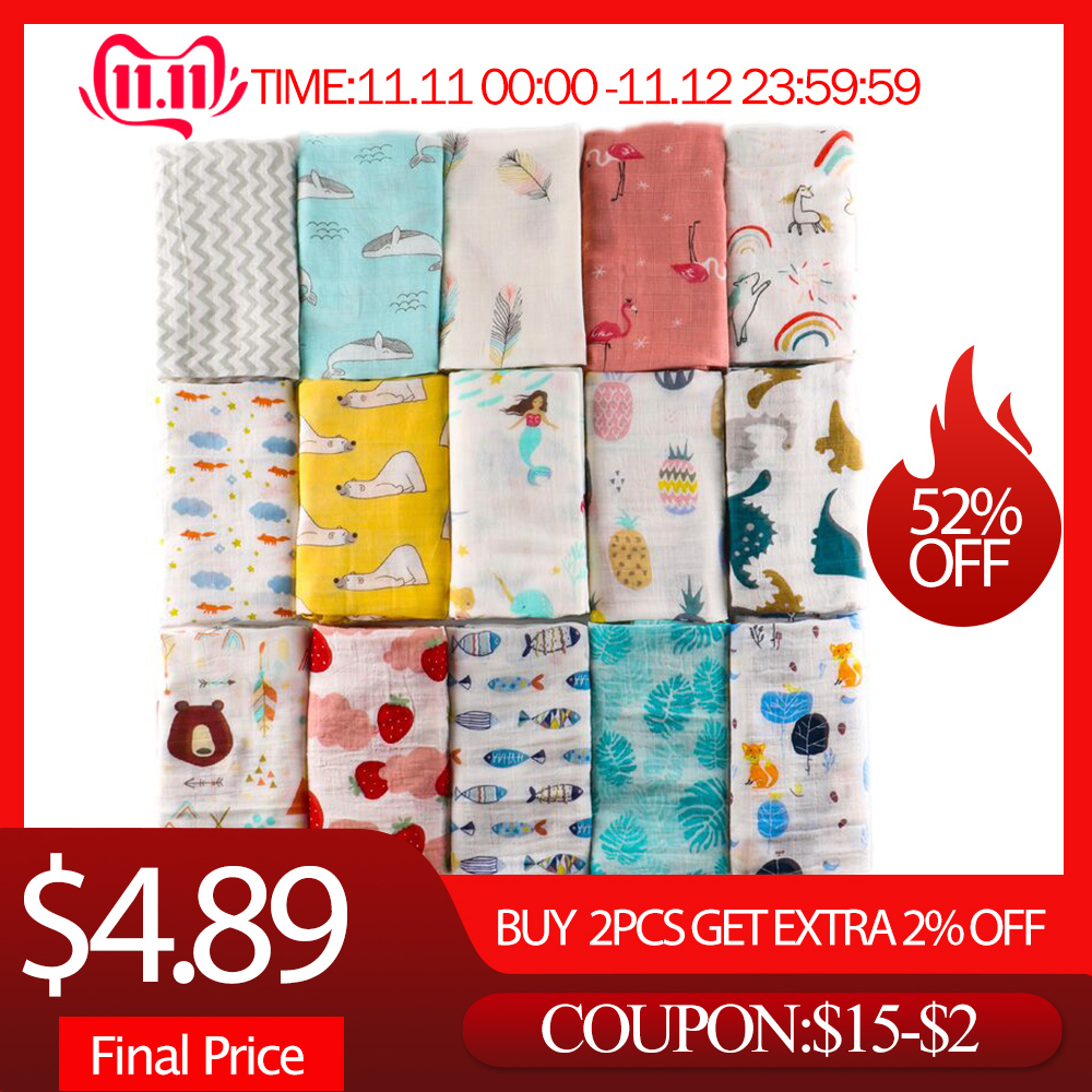 Newborn Muslin Cotton Swaddle Blankets Baby Accessories Cartoon Unicorn Print Baby Photography Wrap Girls Boys Swaddling Blanket