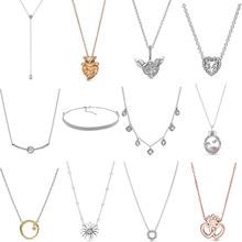 חדש 2019 100% 925 סטרלינג כסף מלאך כנף לב בצורת Reflexions רשת קולר שרשרת Fit DIY נשים מקורי תכשיטים