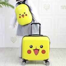 18% 27% 27 дети чемодан путешествия багаж комплект тележка багаж сумка с 14 дюймов рюкзак чемодан на колесах мультфильм кабина ручная кладь сумка