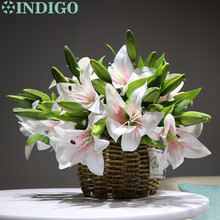 5pcs/Lot 3 Heads Pink Real Touch Lily  Home Flower Artificial Short Wedding Party High Quality Free Shipping