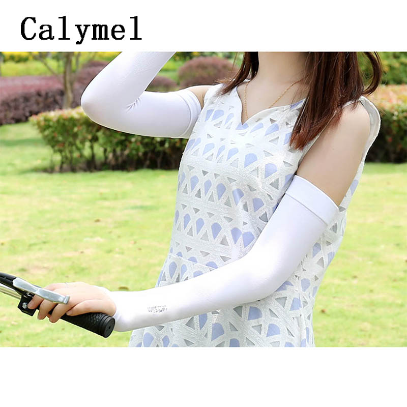 Calymel Ice Silk Sunscreen Sleeves Long Gloves Sun UV Protection Hand Protector Outdoor Arm Warmer Sleeves