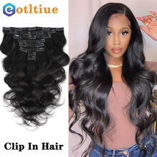 Clip en extensiones de cabello humano de la onda del cuerpo brasileño Clip en 8 unids/set Color negro Natural Clip Ins cabello Remy 8-24 pulgadas 120G