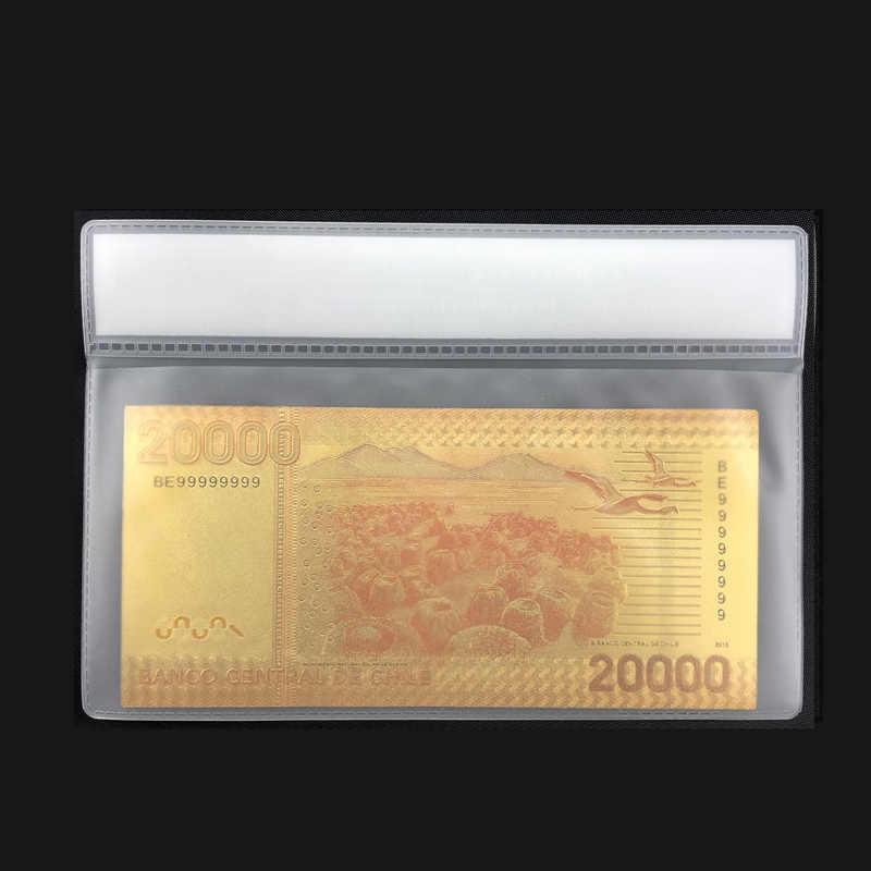 Billets de banque dorés 20000 Pesos | Couleur chilienne, faux papier monnaie avec cadre COA de 24K, pour souvenirs i cadeaux