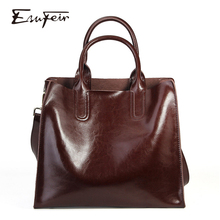 ESUFEIR Genuine Leather Women Handbag 2019 Oil Wax Leather S
