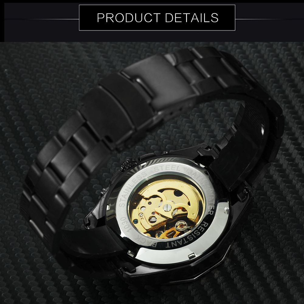 FORSINING Golden Top Brand Luxury Auto Mechanical Watch Men Stainless Steel Strap Skeleton Dial Fashion Business Wristwatches 4