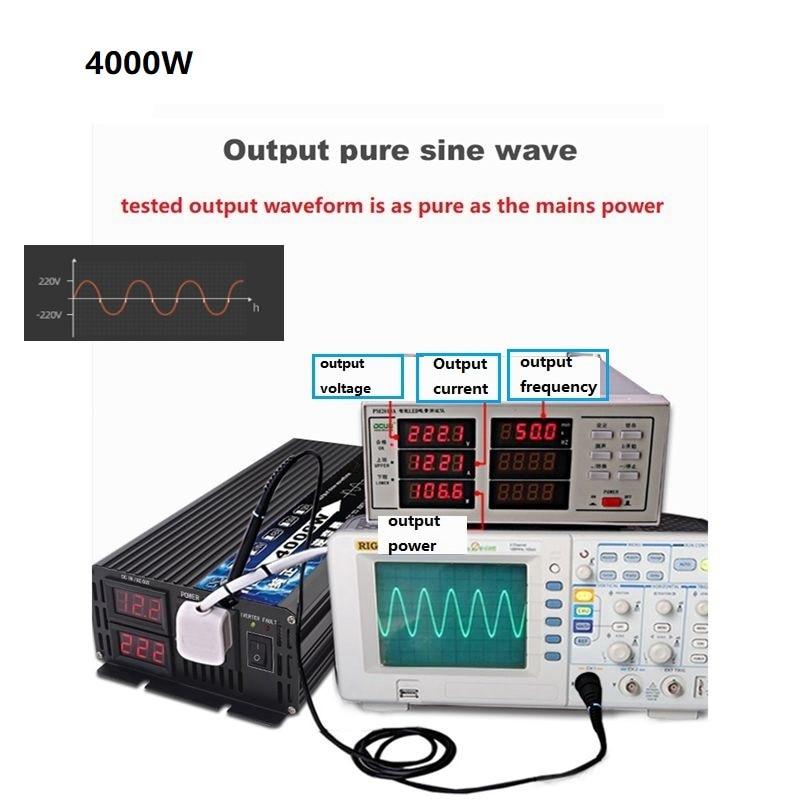 4000W pure sine wave inverter 12V / 24V / 48V / 60V 220V  Voltage transformer DC12V to AC 220V Converter+2 LED Display