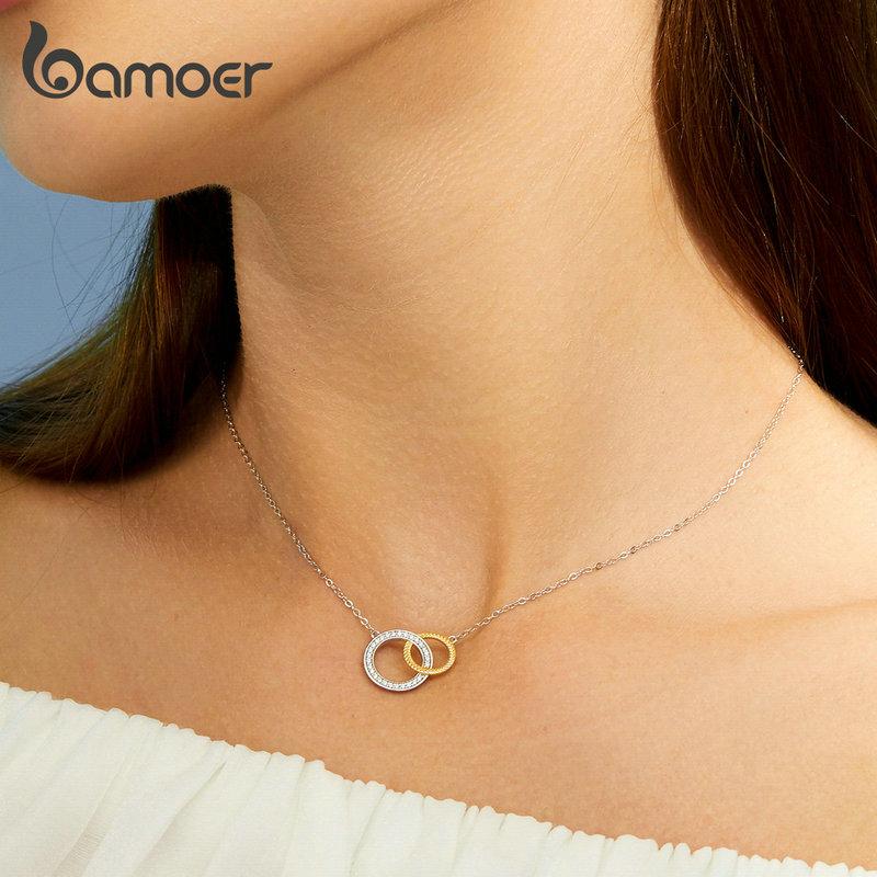 bamoer Biocolor Double Circle Short Necklace for Women Genuine 925 Sterling Silver Necklace Bijoux 2019 New Bijoux BSN115