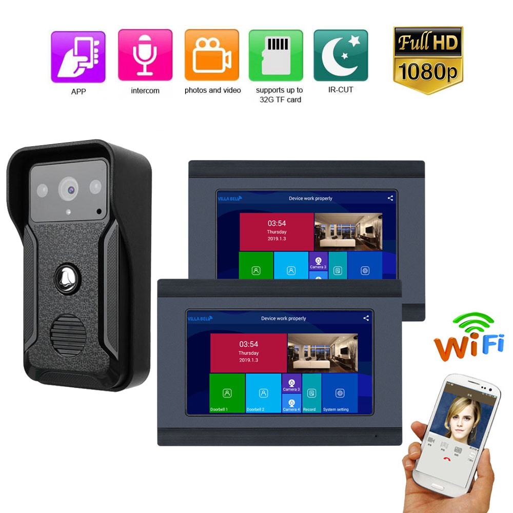 HD 1080P Camera  Wired /Wireless Wifi Video Door Phone Doorbell Intercom System 7 Inch 2PCS Monitor Remote APP Intercom