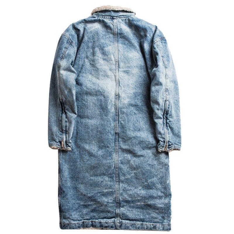 Inverno grosso pele de cordeiro longo forro de lã denim blusão jaqueta streetwear vintage oversize jeans casaco de algodão dos homens jaqueta parka - 4