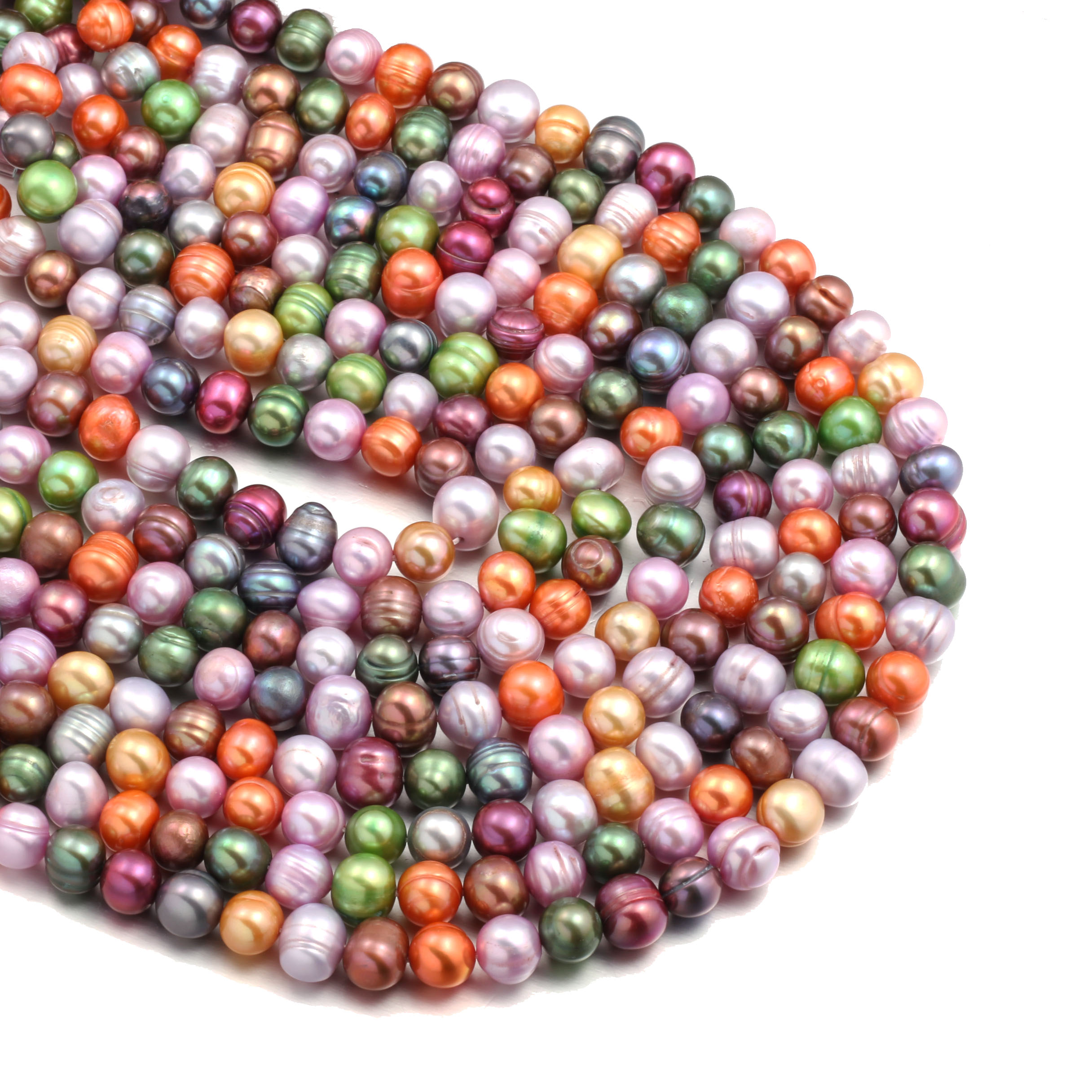 Mixed Color Pearl Round Beads Natural Freshwater Pearls for Necklace Bracelet Jewelry Making DIY Size 8-9mm