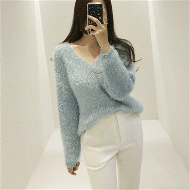 Ailegogo New 2019 Autumn Winter Women's Sweaters Loose Casual Fashionable Minimalist Tops Korean Style Knitting Ladies SW9160 6
