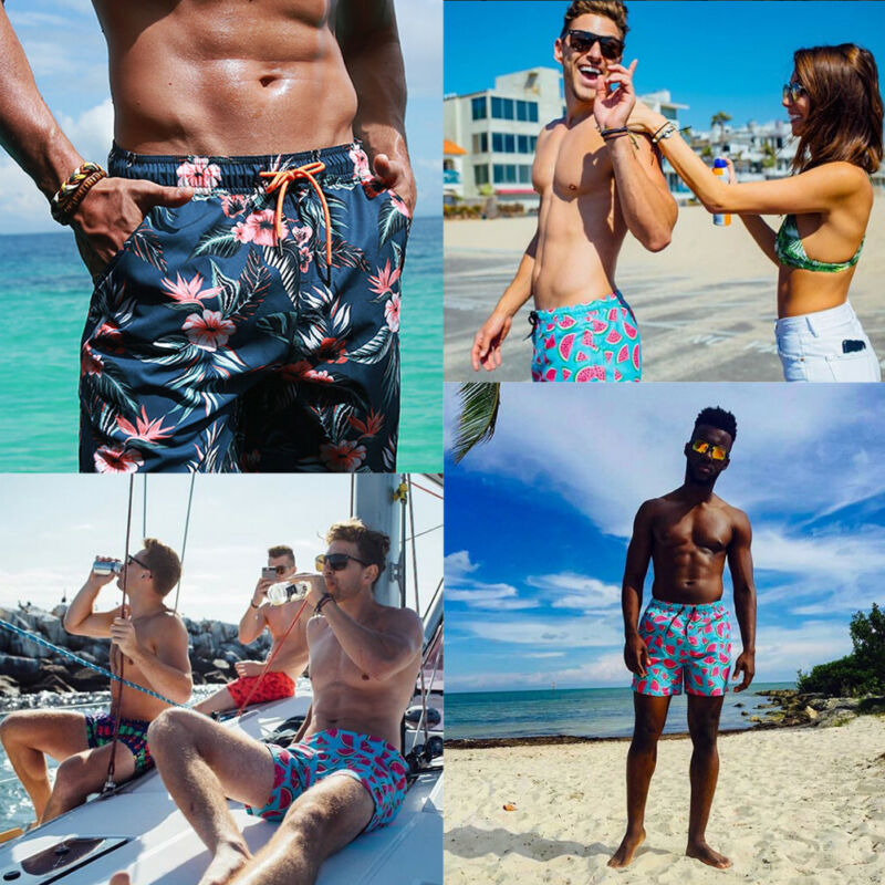 Hot Men Boardshorts Surf Beach Quick-drying Shorts Pants SwimWear Sports Trunks New Men Shorts Thin Floral Hawaii Style Shorts