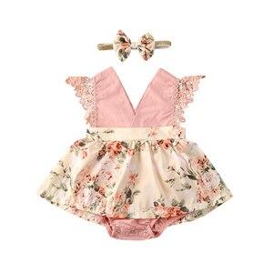 Летний комбинезон для новорожденных девочек 0-24 месяцев, розовое кружевное платье без рукавов с цветочным принтом и v-образным вырезом, кост...