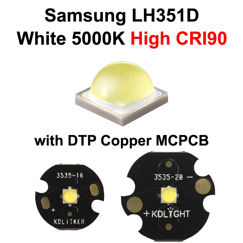 Samsung LH351D Neutral White 5000K High CRI90 LED Emitter (SPHWHTL3DA0GF4RTS6) With KDLITKER 16mm / 20mm DTP Copper MCPCB