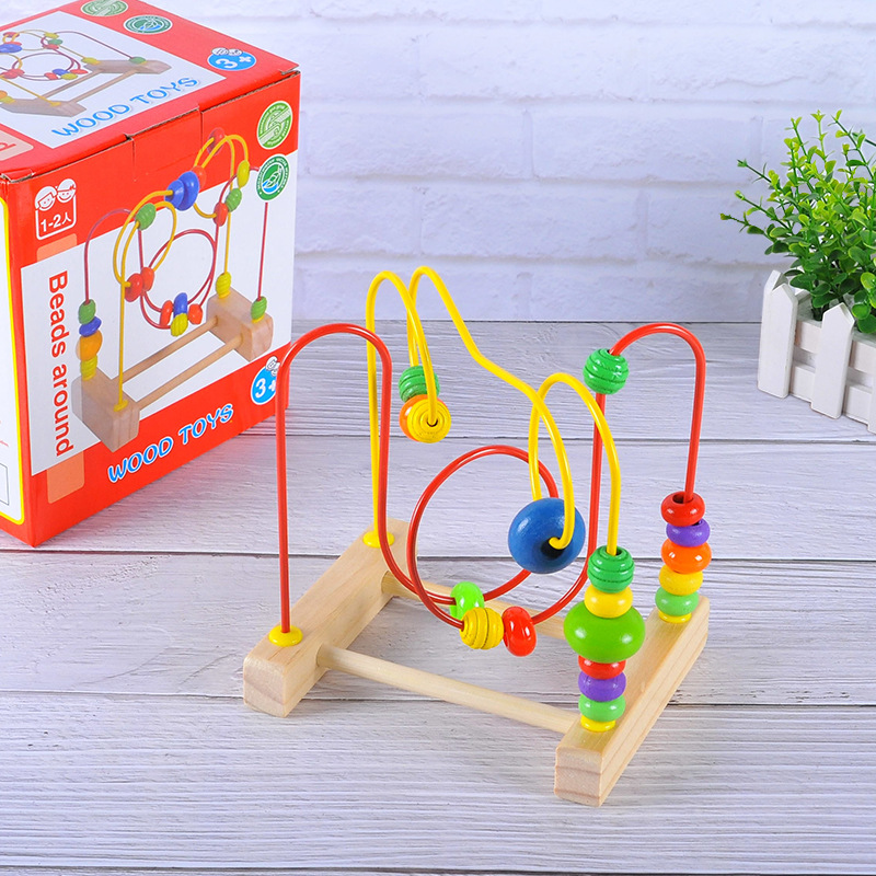Wooden Educational Toys Mini Small Bead-stringing Toy Beaded Bracelet Bead-stringing Toy Game Arithmetic Bead-stringing Toy Chil