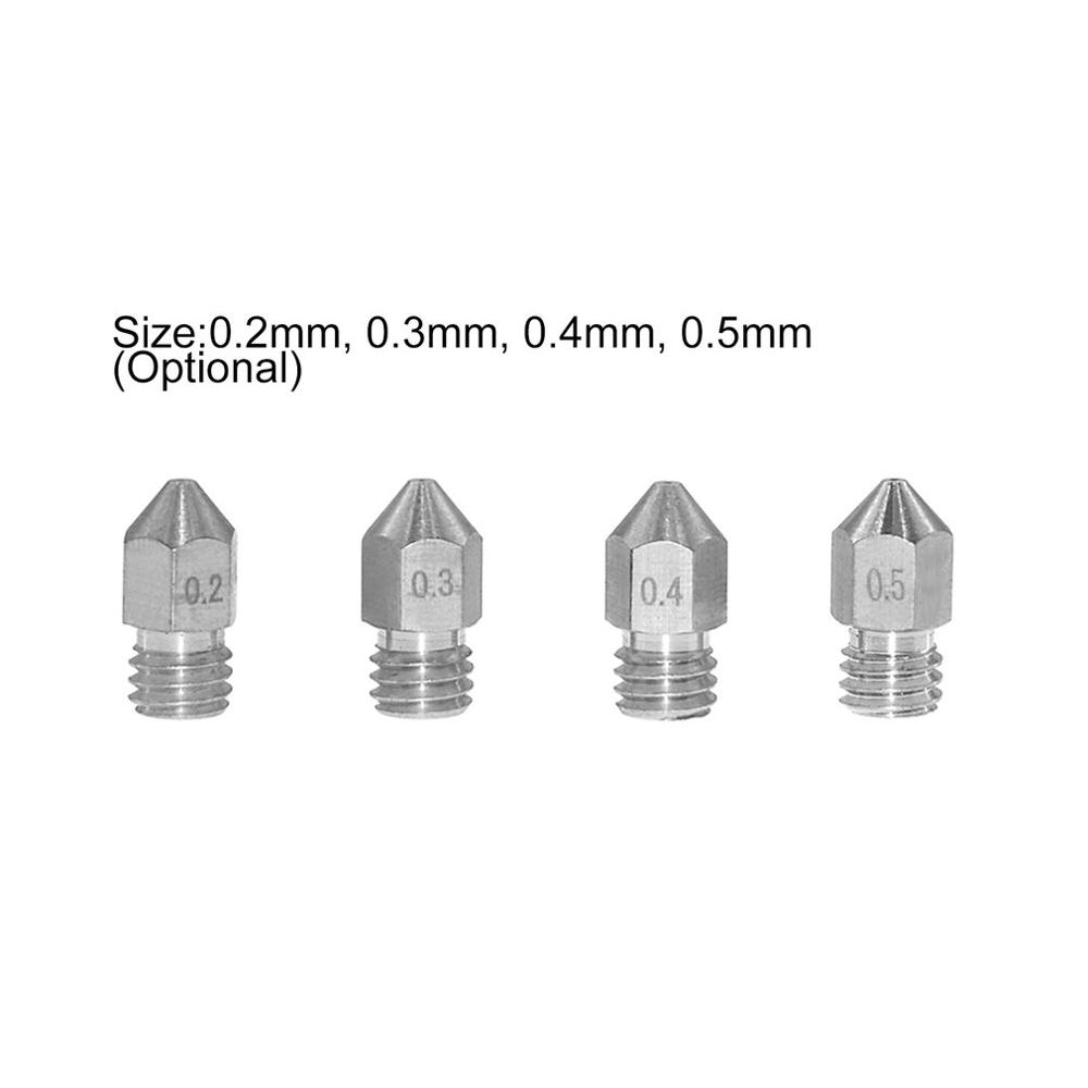 10Pcs Stainless Steel MK8 Nozzle Extruder Print Head 0.2/0.3/0.4/0.5mm For 1.75mm Filamnet 3D Printer Parts