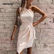 Vestido de fiesta liso con hombros descubiertos para Mujer, minivestido Sexy sin mangas ajustado con cinturón, vestido drapeado Irregular informal 2021