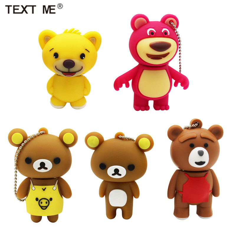 TEXT ME Cartoon  64GB  Cute Bear Personality USB Flash Drive 4GB 8GB 16GB 32GB Pendrive USB 2.0 Usb Stick