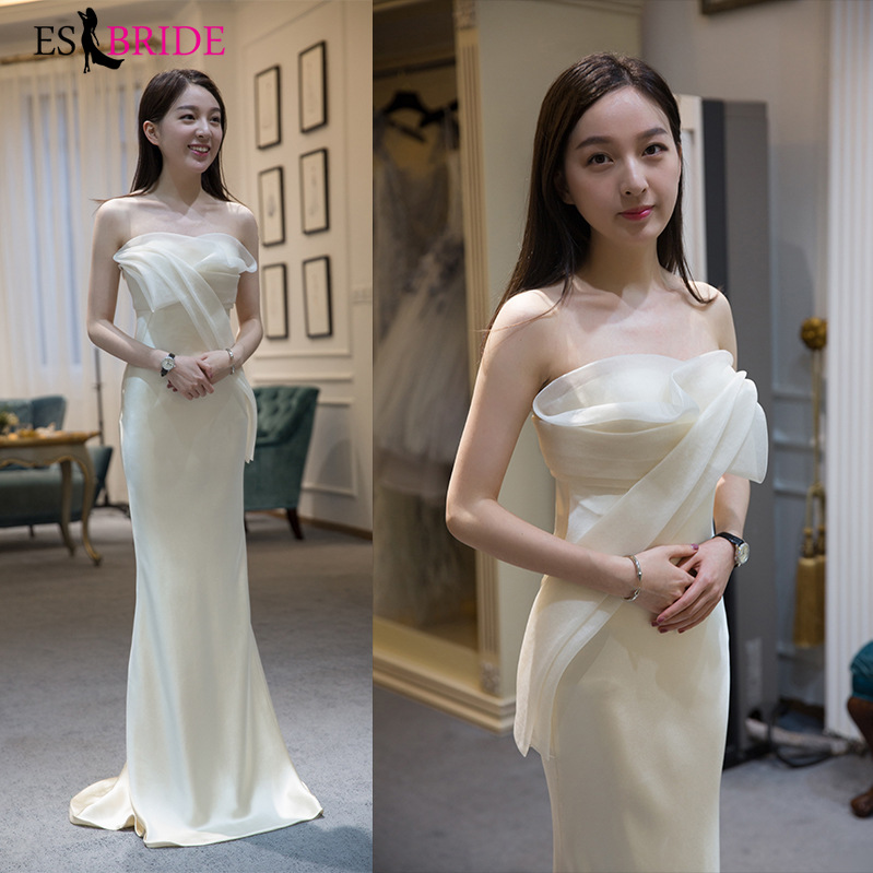 Sexy Mermaid Evening Dresses ES2935-1 Ruffles Off The Shoulder Floor Length Girl's Formal Evening Party Gowns Robe De Soiree