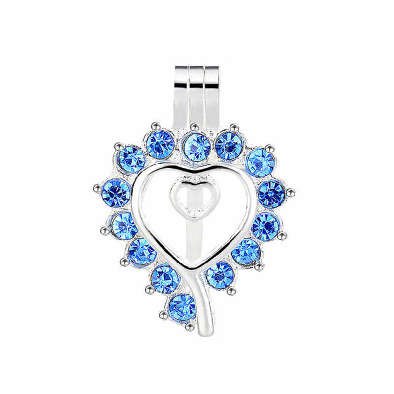 10pcs Bright Silver Heart Shape Pearl Cage Locket จี้น้ำมันหอมระเหยสร้อยคอ Diffuser น้ำมันหอมระเหยสำหรับเครื่องประดับ DIY