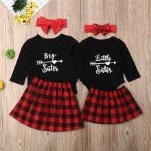 Лидер продаж, Одинаковая одежда для всей семьи футболка для больших сестер комбинезон для маленькой сестры+ клетчатое платье, наряды