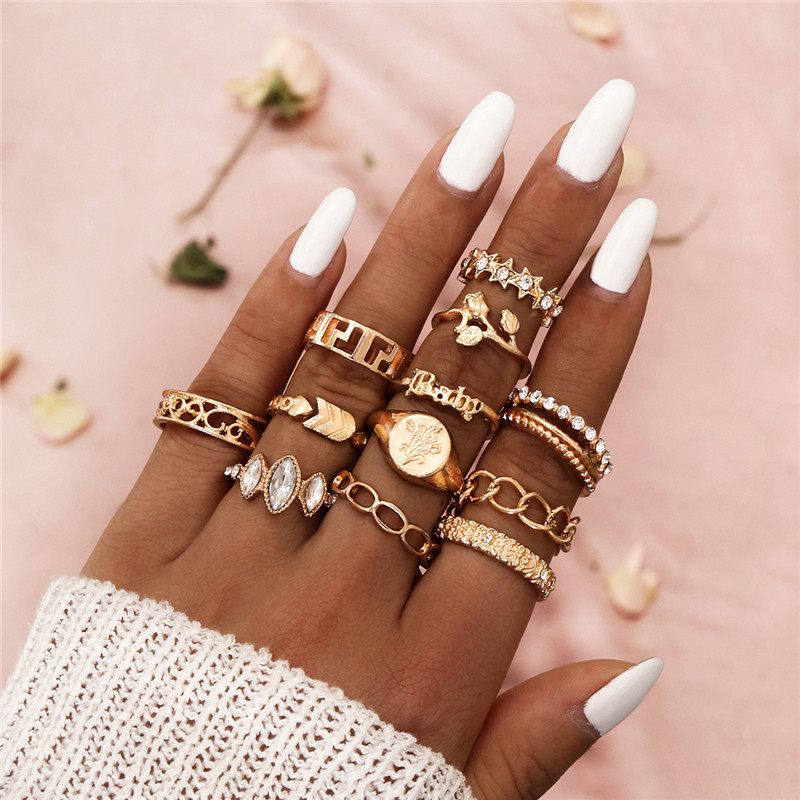 LETAPI Fashion Jewelry Rings Set Gold Color Metal Alloy Hollow Round Women Finger Ring For Girl Lady Party Wedding Gift