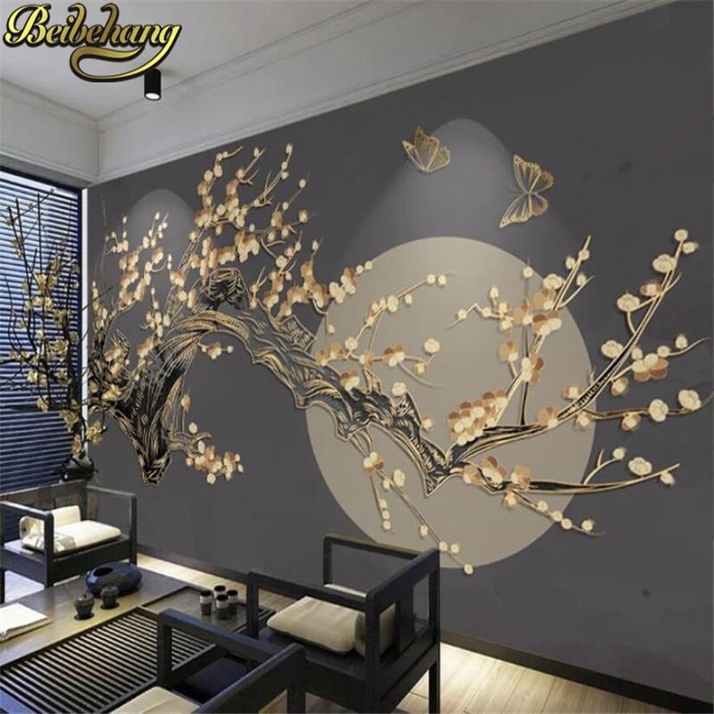 Beibehang  Custom Photo Wallpaper For Living Room Golden Relief Lines Wall Paper Living Room Bedroom TV Background Wallpapers