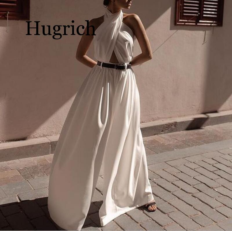 2020 Autumn Women Jumpsuits Sexy Backless Hollow Out White Rompers Female Solid Wide Leg Loose Ruffled Jumpsuits