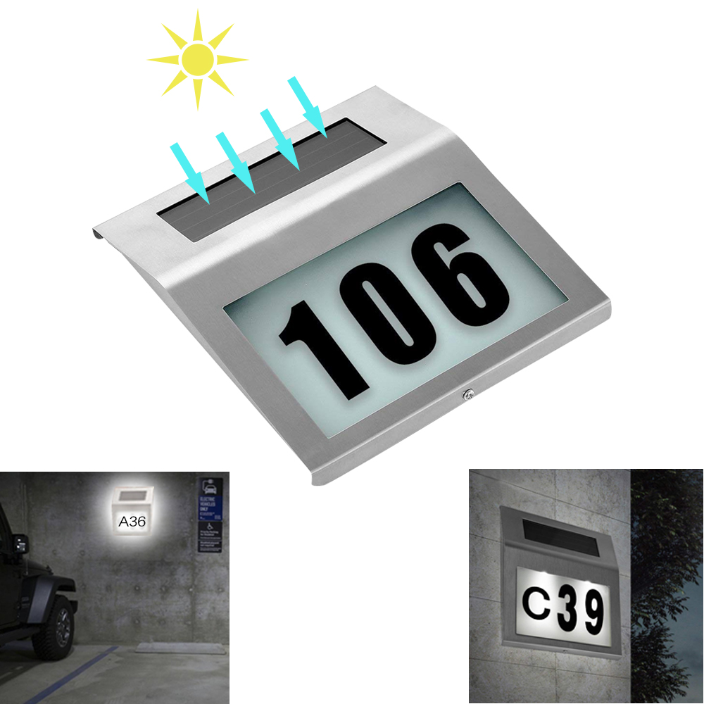 Solar Powered LED Light Sign House Hotel Door Address Plaque Waterproof Number Digits Plate Lamp For Home Lighting Sign White Li
