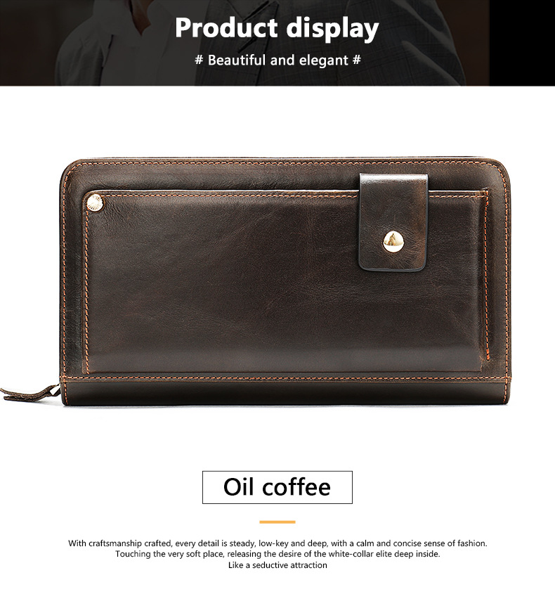 Best selling men's leather wallet clutch bag casual fashion personality hand bag multi-card retro wallet in brown color