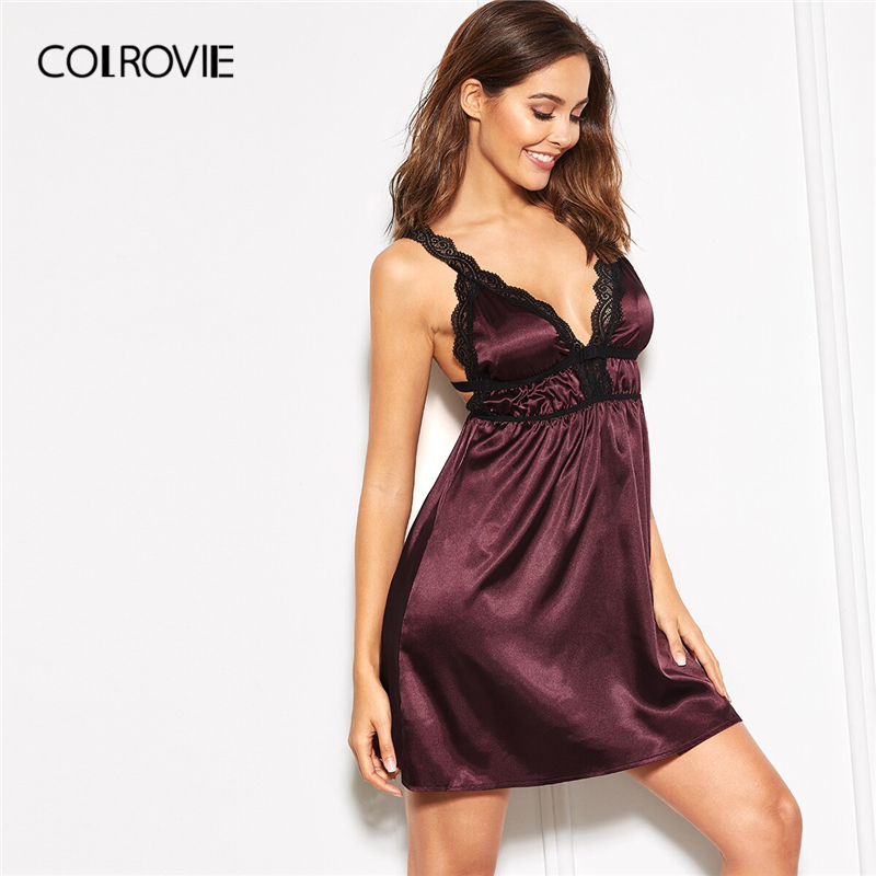 COLROVIE Burgundy Lace Insert Strap Satin Night Dress Women Deep V Neck Nightgowns 2019 Summer Sleeveless Cami Sexy Sleepwear