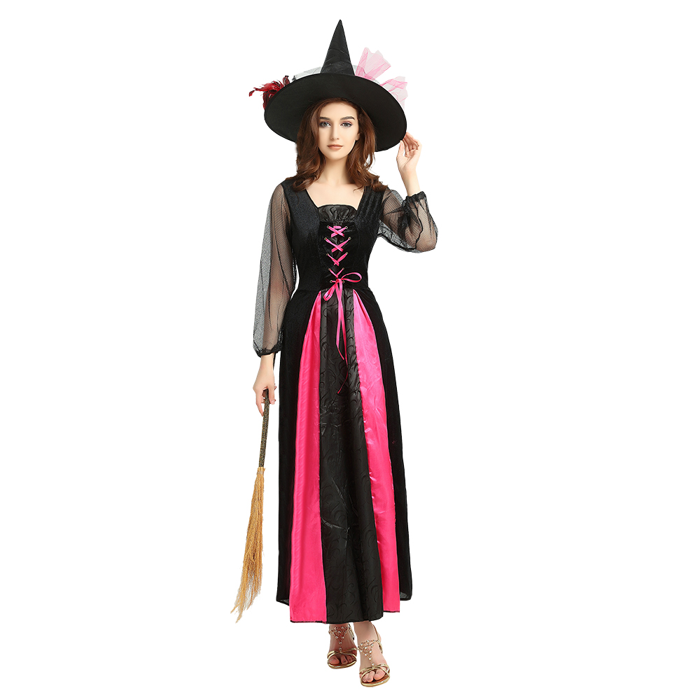 Witch Costumes Long Sleeve Dress With Hat Besom Girls Role-Playing Socerress Outfit Halloween Costume For Adult Women